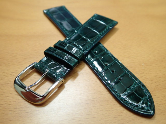 18mm 20mm 時計バンド (腕時計) ベルト クロコダイル ワニ グリーン (緑) バネ棒 サービス 腕時計用 時計ベルト 時計用バンド 525円で販売しています バネ棒をサービスでお付けします