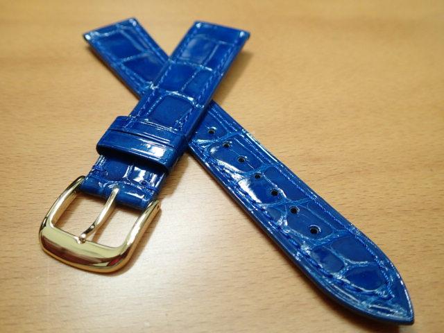 18mm 時計バンド (腕時計) ベルト クロコダイル ワニ ブルー (青) バネ棒 サービス 腕時計用 時計ベルト 時計用バンド 500円で販売しています バネ棒をサービスでお付けします