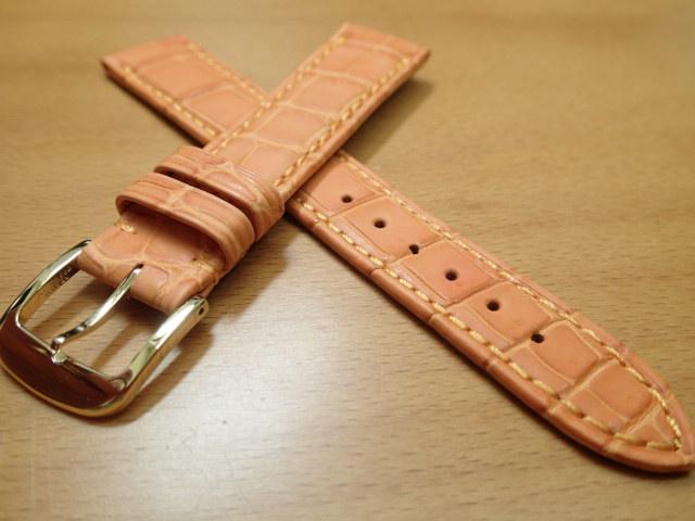 18mm 時計バンド (腕時計) ベルト クロコダイル ワニ オレンジ 茶 バネ棒 サービス 腕時計用 時計ベルト 時計用バンド 500円で販売しています バネ棒をサービスでお付けします