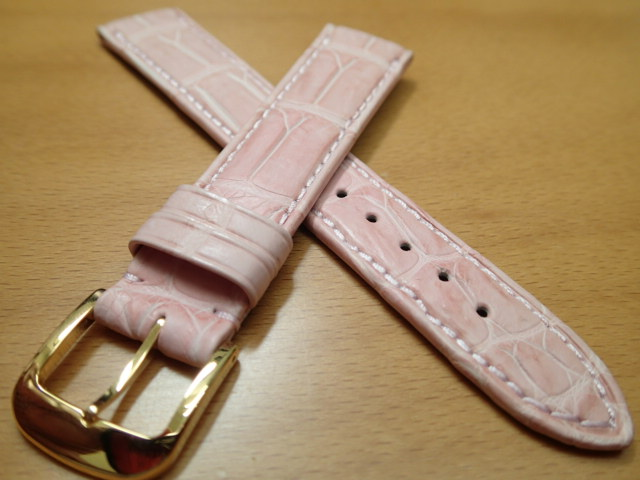 18mm 時計バンド (腕時計) ベルト クロコダイル ワニ ピンク バネ棒 サービス 腕時計用 時計ベルト 時計用バンド 525円で販売しています バネ棒をサービスでお付けします