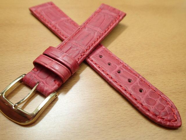 18mm 20mm 時計バンド (腕時計) ベルト クロコダイル ワニ 赤 (レッド) バネ棒 サービス 腕時計用 時計ベルト 時計用バンド 525円で販売しています バネ棒をサービスでお付けします