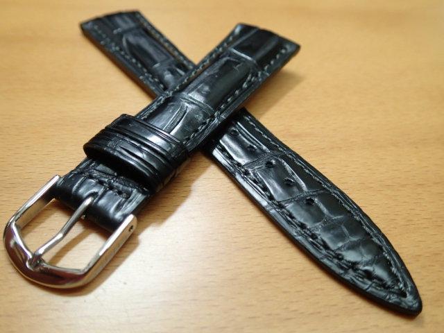 16mm~ 20mm 時計バンド (腕時計) ベルト クロコダイル ワニ 黒 (ブラック) バネ棒 サービス 腕時計用 時計ベルト 時計用バンド 525円で販売しています バネ棒をサービスでお付けします