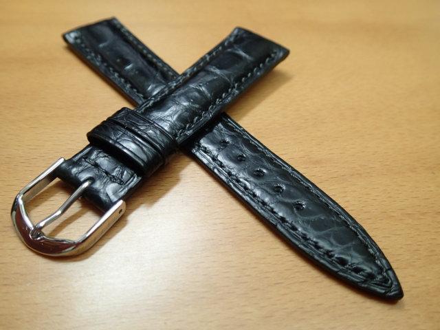 18mm~ 20mm 時計バンド (腕時計) ベルト クロコダイル ワニ 黒 (ブラック) バネ棒 サービス 腕時計用 時計ベルト 時計用バンド 525円で販売しています バネ棒をサービスでお付けします