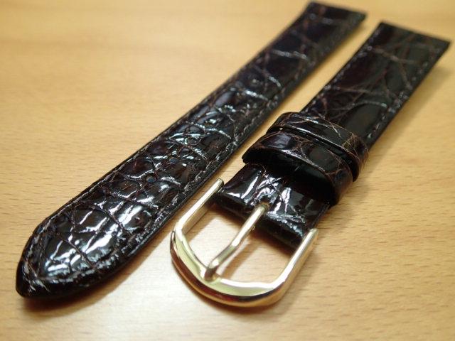 16mm~ 20mm 時計バンド (腕時計) ベルト ワニ (カイマン) チョコ (こげ茶) バネ棒 サービス 腕時計用 時計ベルト 時計用バンド 525円で販売していますバネ棒をサービスでお付けします