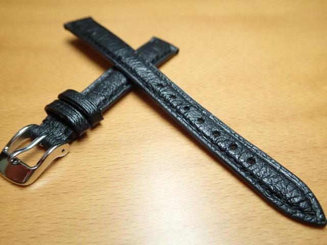 12mm 14mm 時計バンド (腕時計) ベルト オーストリッチ (ダチョウ) 黒 (ブラック) バネ棒 サービス 腕時計用 時計ベルト 時計用バンド 525円で販売していますバネ棒をサービスでお付けします