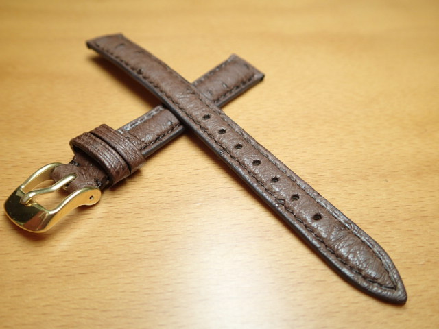 12mm 14mm 時計バンド (腕時計) ベルト オーストリッチ (ダチョウ) ダークブラウン バネ棒 サービス 腕時計用 時計ベルト 時計用バンド 525円で販売していますバネ棒をサービスでお付けします