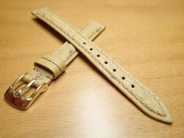 12mm 14mm 時計バンド (腕時計) ベルト オーストリッチ (ダチョウ) タン (うす茶) バネ棒 サービス 腕時計用 時計ベルト 時計用バンド 525円で販売していますバネ棒をサービスでお付けします