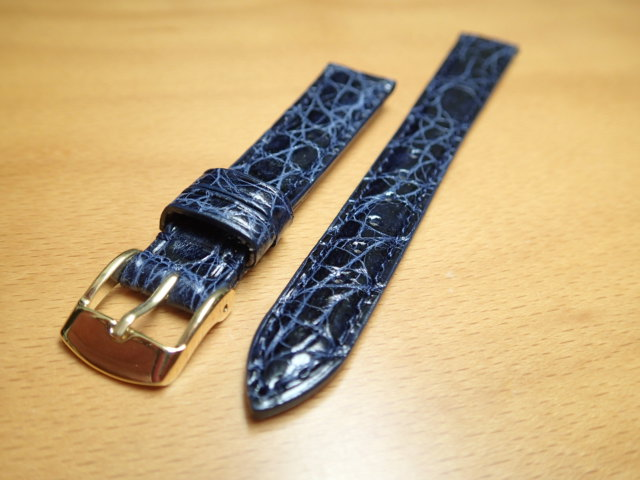 12mm 14mm 時計バンド (腕時計) ベルト カイマンクロコ ネイビー (紺) バネ棒 サービス 腕時計用 時計ベルト 時計用バンド 525円で販売していますバネ棒をサービスでお付けします