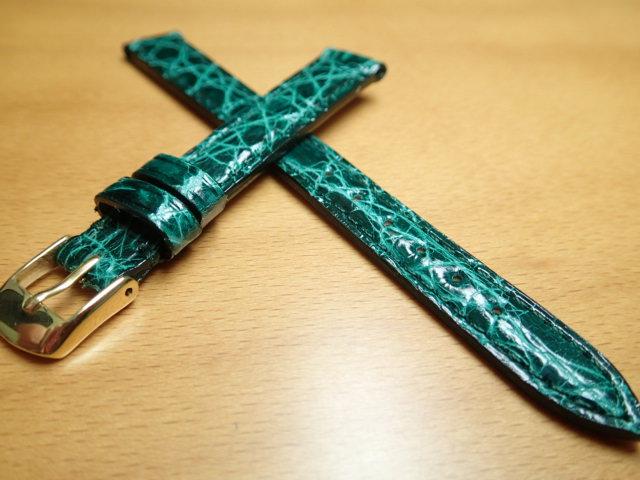 12mm 14mm 時計バンド (腕時計) ベルト カイマンクロコ グリーン (緑) バネ棒 サービス 腕時計用 時計ベルト 時計用バンド 525円で販売していますバネ棒をサービスでお付けします