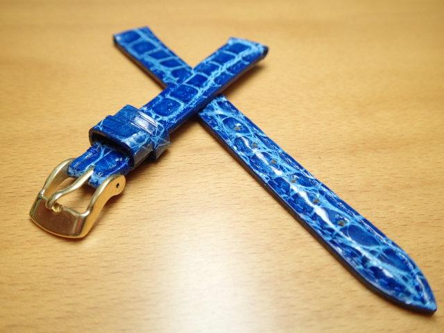 12mm 14mm 時計バンド (腕時計) ベルト カイマンクロコ ブルー (青) バネ棒 サービス 腕時計用 時計ベルト 時計用バンド 525円で販売していますバネ棒をサービスでお付けします