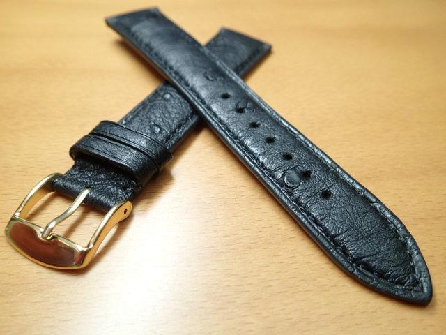 18mm 20mm 時計バンド (腕時計) ベルト オーストリッチ (ダチョウ) ブラック (黒) バネ棒 サービス 腕時計用 時計ベルト 時計用バンド 525円で販売していますバネ棒をサービスでお付けします