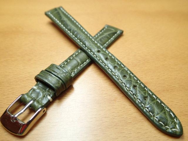 12mm 時計バンド (腕時計) ベルト アリゲーター (ワニ) グリーン (緑) バネ棒 サービス 腕時計用 時計ベルト 時計用バンド 525円で販売していますバネ棒をサービスでお付けします