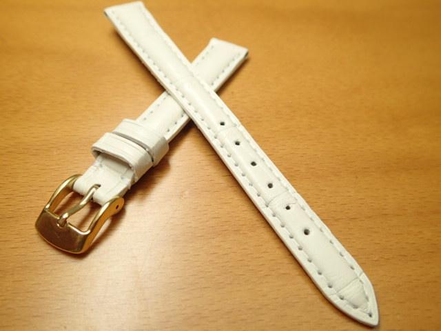 12mm 時計バンド (腕時計) ベルト アリゲーター (ワニ) ホワイト (白) バネ棒 サービス 腕時計用 時計ベルト 時計用バンド 525円で販売していますバネ棒をサービスでお付けします