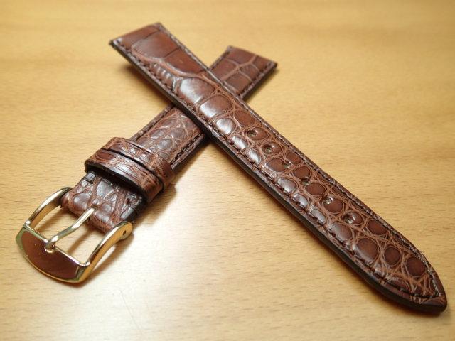 18mm 時計バンド (腕時計) ベルト アリゲーター (ワニ) ダークブラウン バネ棒 サービス 腕時計用 時計ベルト 時計用バンド 525円で販売していますバネ棒をサービスでお付けします