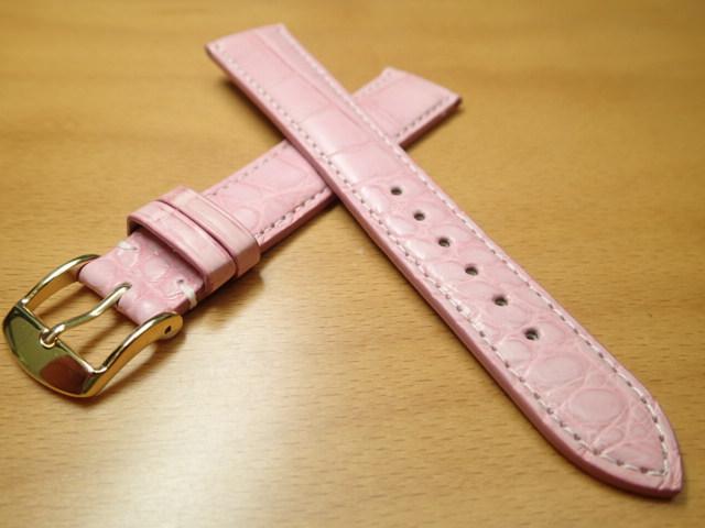 18mm 時計バンド (腕時計) ベルト アリゲーター (ワニ) ピンク バネ棒 サービス 腕時計用 時計ベルト 時計用バンド 525円で販売していますバネ棒をサービスでお付けします