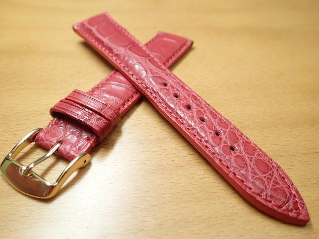 18mm 時計バンド (腕時計) ベルト アリゲーター (ワニ) レッド (赤) バネ棒 サービス 腕時計用 時計ベルト 時計用バンド 525円で販売していますバネ棒をサービスでお付けします