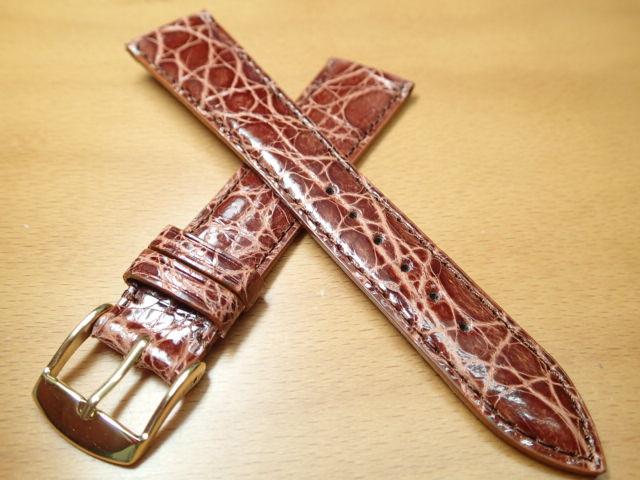 18mm 20mm 時計バンド (腕時計) ベルト カイマンクロコ ブラウン (茶) バネ棒 サービス 腕時計用 時計ベルト 時計用バンド 525円で販売していますバネ棒をサービスでお付けします