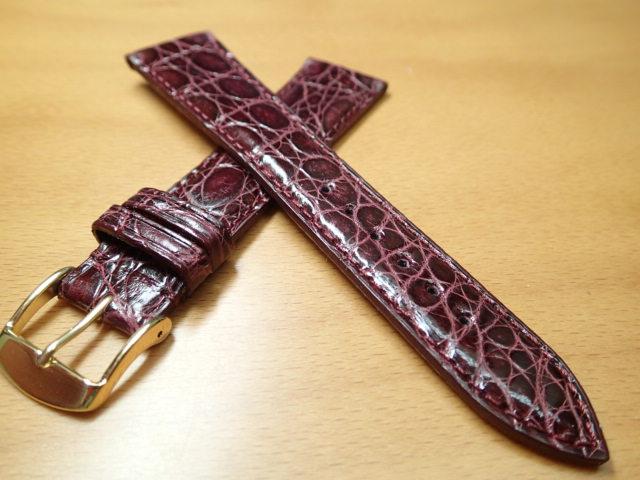 18mm 20mm 時計バンド (腕時計) ベルト カイマンクロコ ワイン バネ棒 サービス 腕時計用 時計ベルト 時計用バンド 525円で販売していますバネ棒をサービスでお付けします