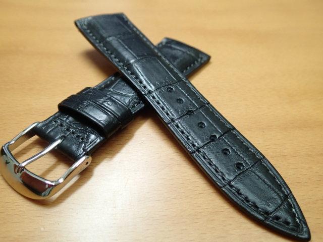 22mm 24mm 時計バンド (腕時計) ベルト クロコダイル ワニ 黒 (ブラック) バネ棒 サービス 腕時計用 時計ベルト 時計用バンド 525円で販売していますバネ棒をサービスでお付けします