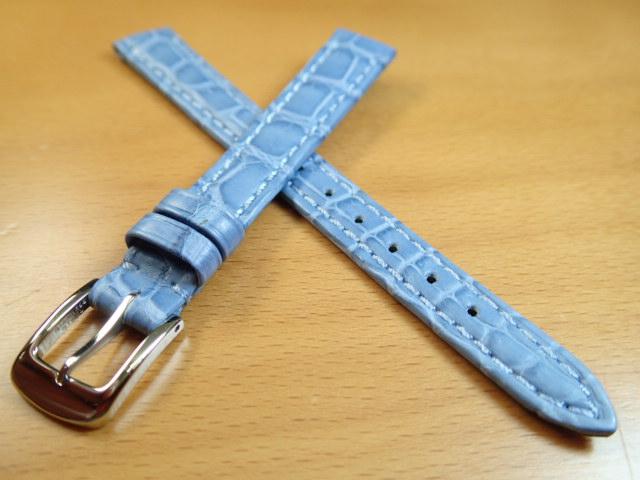 12mm 14mm 時計バンド (腕時計) ベルト クロコダイル ワニ ライトブルー (水色) バネ棒 サービス 腕時計用 時計ベルト 時計用バンド 525円で販売しています バネ棒をサービスでお付けします