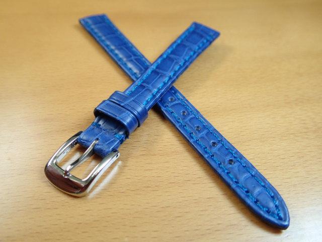 12mm 14mm 時計バンド (腕時計) ベルト クロコダイル ワニ ブルー (青) バネ棒 サービス 腕時計用 時計ベルト 時計用バンド 525円で販売しています バネ棒をサービスでお付けします