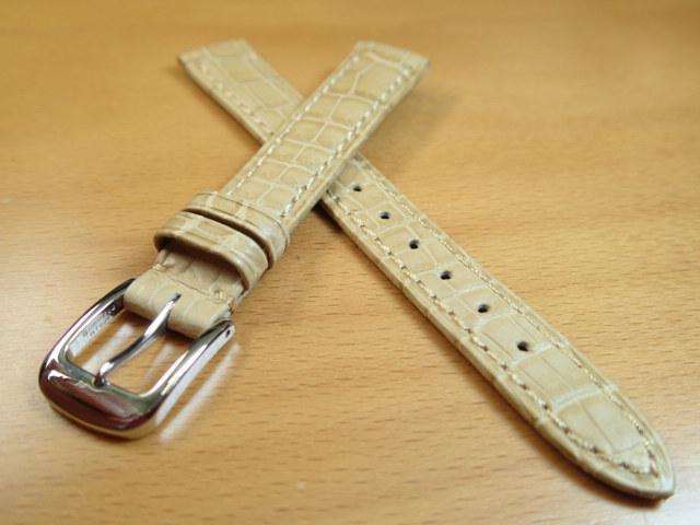 12mm 14mm 時計バンド (腕時計) ベルト クロコダイル ワニ ベージュ バネ棒 サービス 腕時計用 時計ベルト 時計用バンド 525円で販売しています バネ棒をサービスでお付けします