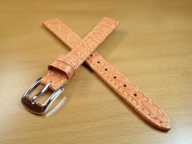 12mm 14mm 時計バンド (腕時計) ベルト クロコダイル ワニ オレンジ 茶 バネ棒 サービス 腕時計用 時計ベルト 時計用バンド 525円で販売しています バネ棒をサービスでお付けします
