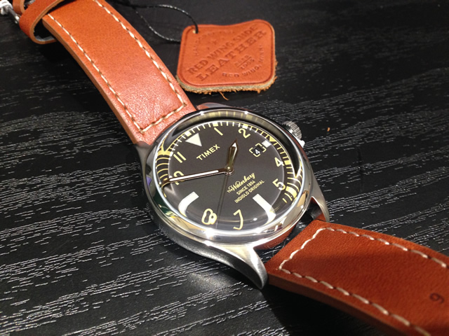 Timex TIMEX Waterbury Redwing Waterbury Red Wing Shoe Leather 38 mm watch men's TW2P 8460012 mid stock!