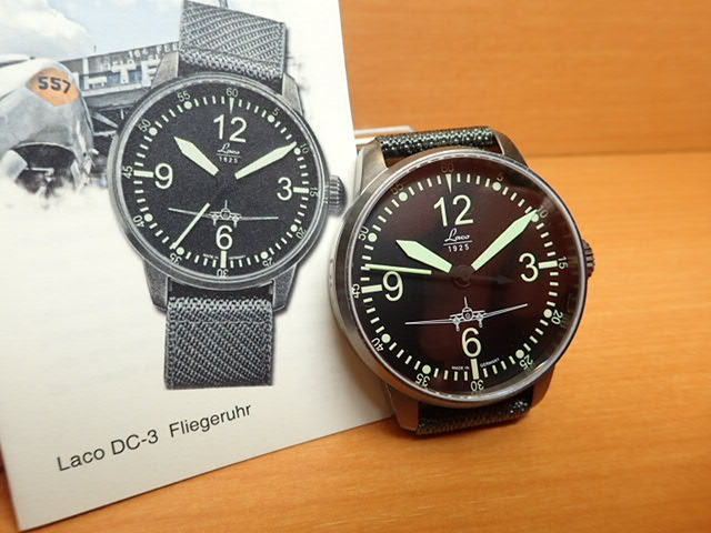 ラコ 腕時計 Laco 861901 DC-3 オートマチック(自動巻き式) 42mm優美堂のLaco ラコ腕時計はメーカー保証2年つきの正規販売店商品です。