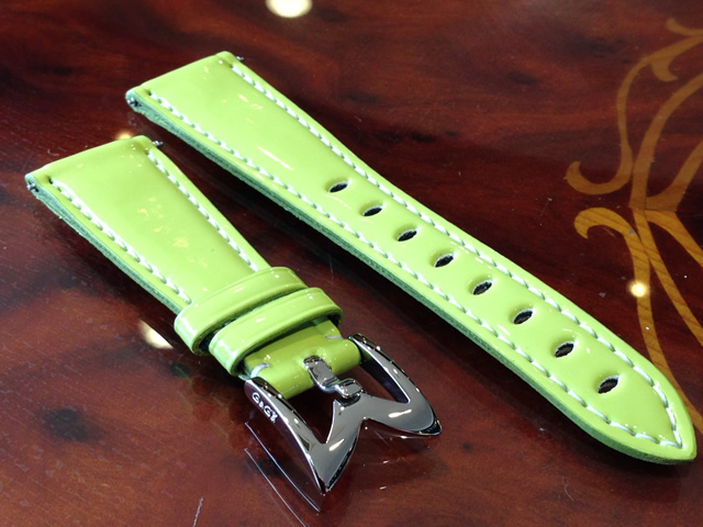 GaGa MILANO ガガミラノ 日本正規品 純正 時計バンド ベルト 40mm レディース用 エナメルベルト ライトグリーン