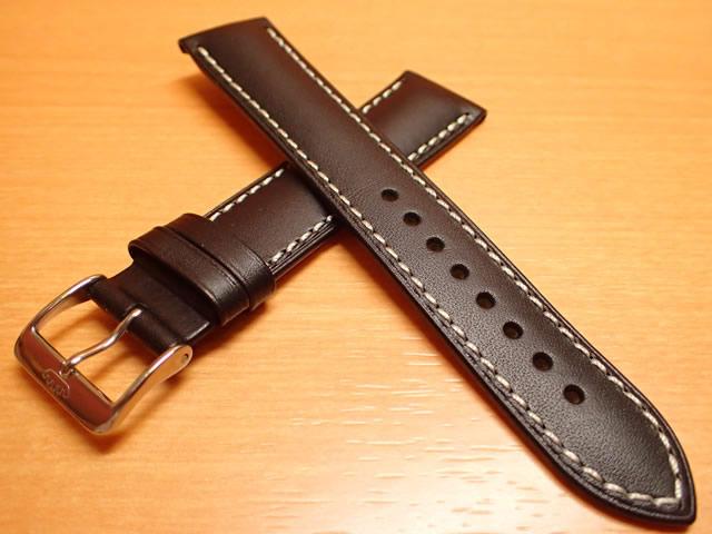 FORTIS フォルティス フリーガークラッシック / コスモノート 用 カーフレザー ベルト バンド カーフ SSヘアラインマットバックル、SSブラックPVDバックル ブラック(黒色)20mm