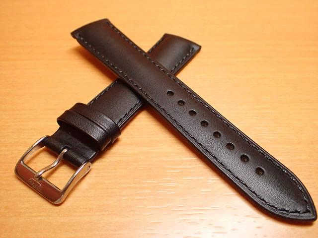 FORTIS フォルティス クラシック・コスモノート / フリーガープロ / テレスティス 三針モデル用 カーフレザー ベルト バンド カーフ SSヘアラインマットバックル、SSポリッシュバックル ブラック(黒色)20mm