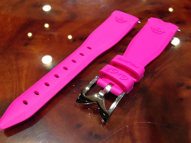 GaGa MILANO ガガミラノ 日本正規品 純正 時計バンド ベルト 40mm レディース用 ラバーベルト キャンディーピンク