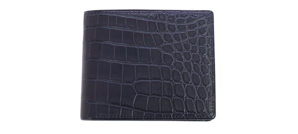 GREDEER クロコダイル 二折財布(小銭入付) GCKW002D-Z ネイビーADVANTIQE FINISH こだわりの「日本製」。原皮のなめし、作り、塗装まで日本の職人による手仕事でできています