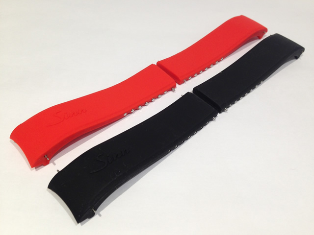 SINN ジン 腕時計 Sinn 純正バンド ベルト テールセット(ブラック/18mm、20mm、22mm)Uシリーズほか (レッド/22mm)シリコンラバー・ストラップ 腕時計用 時計ベルト 時計用バンド