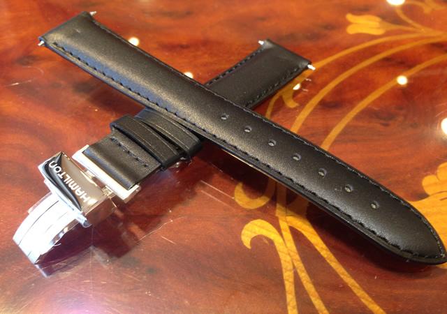 HAMILTON☆ハミルトン☆ 純正 ベンチュラ専用 牛革(カーフ) 腕時計 バンド ベルト バックル付き ブラック (黒色)17mm H600244103