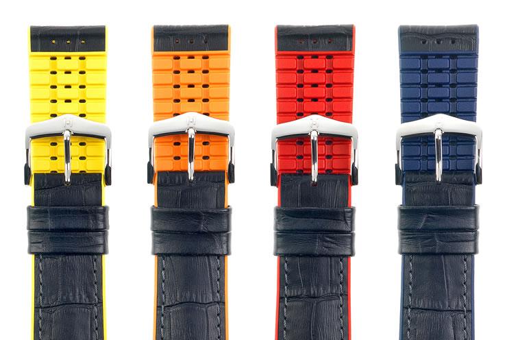 HIRSCH ヒルシュ ANDY アンディは、男性サイズしかありません 腕時計ベルト カーフ(アリゲーターの型押し仕上げ、イタリアンカーフ) 裏素材は カウチューク(天然ゴム) 18mm/20mm/22mm/24mm