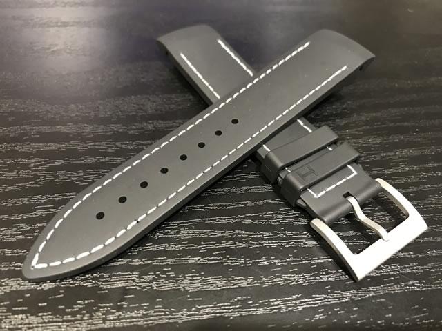 HAMILTON☆ハミルトン☆カーキ ETO用 ラバー 交換時計ベルト バンド 黒色 ブラック 21mm H600776100