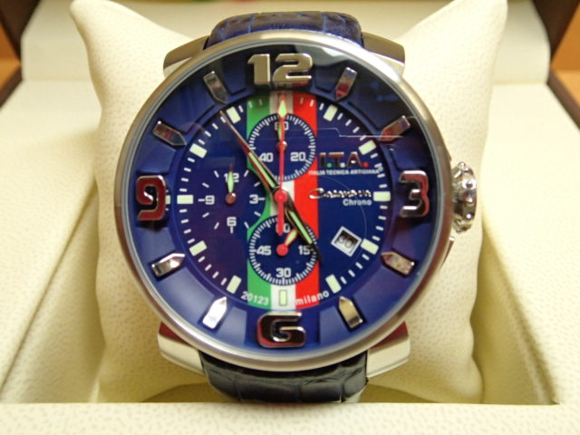 I.T.A アイティーエー 腕時計 Casanova chrono Toricolore カサノバ・クロノ トリコローレ ブルー文字盤 正規商品 Ref.12.70.23優美堂のI.T.A 腕時計はメーカー保証2年の正規商品です