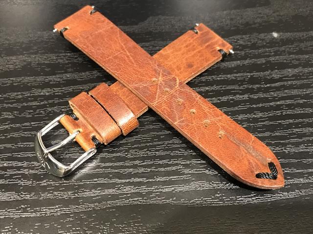 ジン 純正バンド ベルト カウレザー・ストラップ SSマット・バックル & SSポリッシュ・バックル (20mm & 22mm) 腕時計用 時計ベルト 時計用バンド ブラウン(茶色)