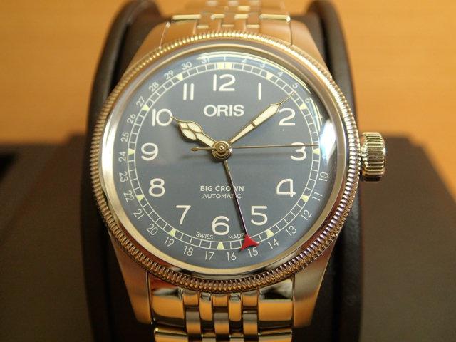 オリス ビッグクラウン ポインターデイト 40mm メンズサイズ ブルー文字盤 腕時計 75477414065M メタルブレスレット 【送料無料】 【正規輸入品】