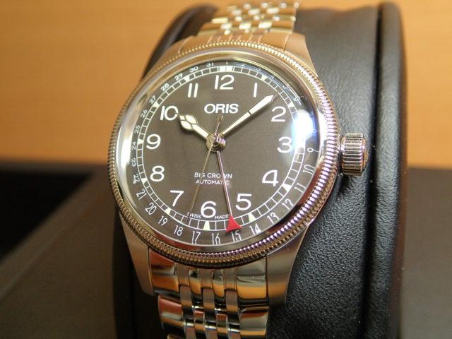 オリス 時計 ビッグクラウン ポインターデイト 36mm ビンテージボーイズサイズ ブラック文字盤 腕時計 75477494064M メタルブレスレット 送料無料 正規輸入品