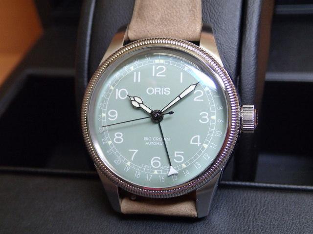 オリス ビッグクラウン ポインターデイト 36mm ビンテージボーイズサイズ ライトグリーン文字盤 レザーベルト 腕時計 75477494067 レザーベルト 【送料無料】【正規輸入品】