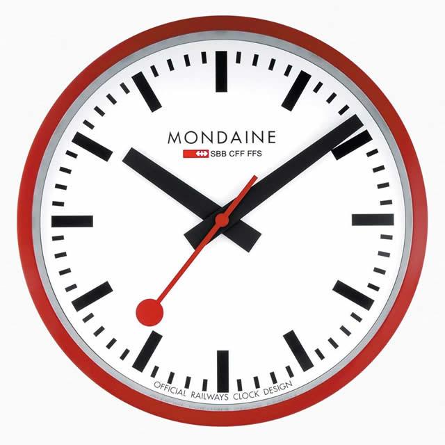 MONDAINE モンディーン 壁掛け時計 ウォールクロック レッド 25cm スイス国鉄オフィシャル 鉄道ウォッチ A990.CLOCK.11SBC優美堂のモンディーンはメーカー保証つきの正規商品です。