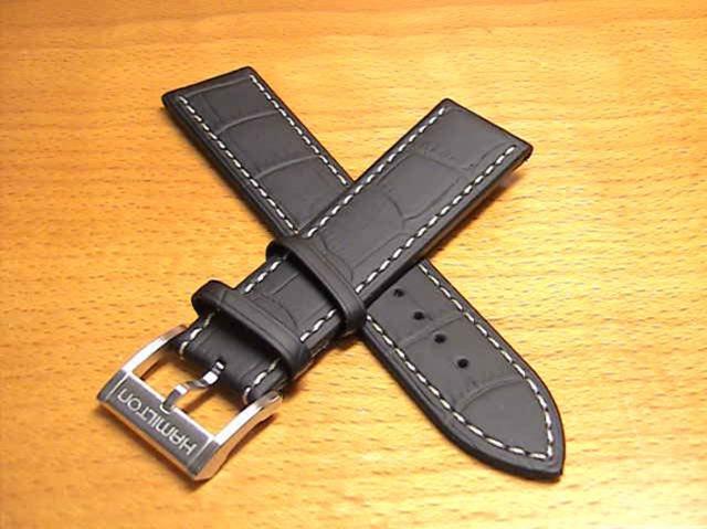 ハミルトン ジャズマスター ベルト 時計 バンド シービュークロノ用 交換バンド 牛革 22mm ブラック(黒色) HAMILTON H600375105