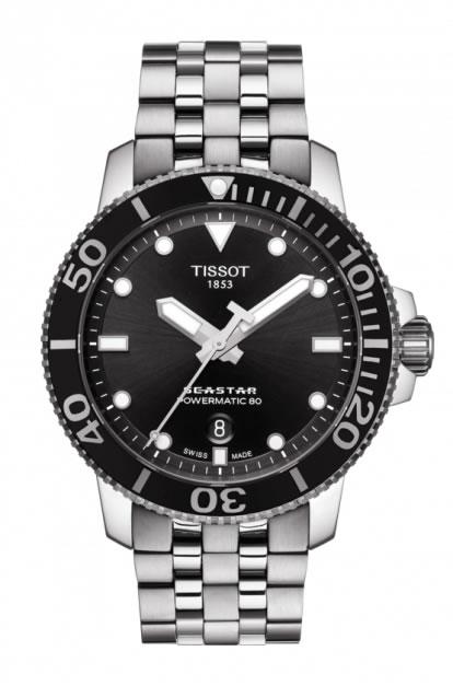 TISSOT 腕時計 ティソ メンズ シースター1000 パワーマティック80 オートマティック ブラック文字盤 ブレスレット T120.407.11.051.00 優美堂のティソはメーカー保証2年つきの正規代理店商品です。優美堂 分割払いできます。