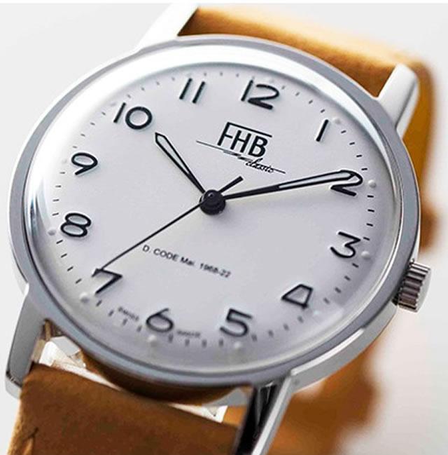 FHB エフエイチビー 腕時計 クラシックフレアーシリーズ Classic Flair Series F908SW-NYE 【正規輸入品】「ヴィンテージベーシック」由緒ある腕時計の基本形。FHBはフェリックス・フーバーの名を冠にして始まった腕時計ブランド。