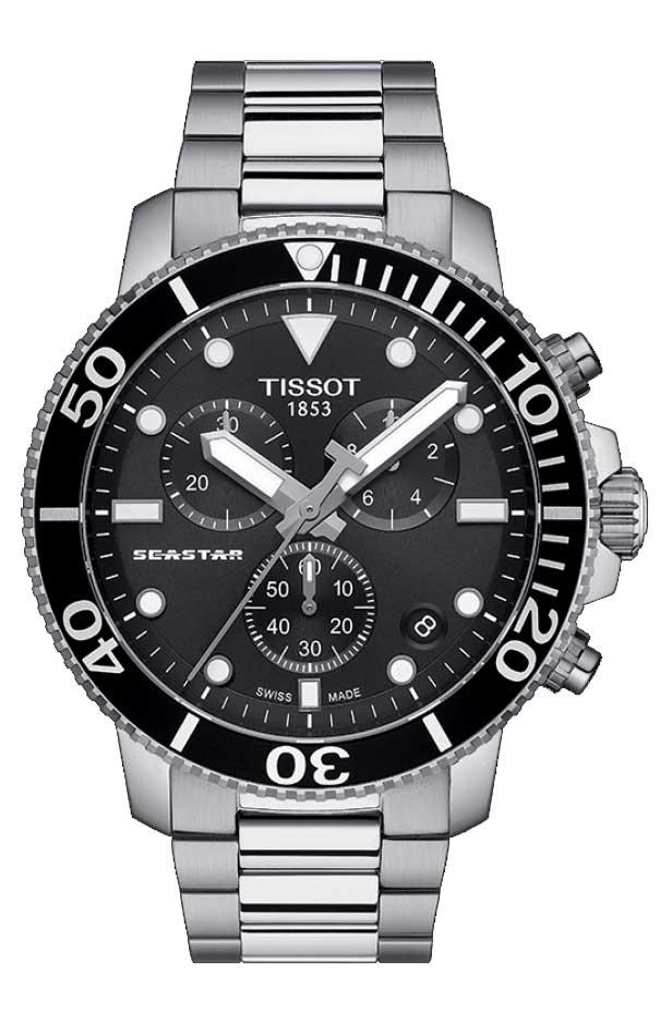 TISSOT 腕時計 ティソ メンズ シースター 1000 クロノグラフ クオーツ ブラック文字盤 メタルブレスレット T1204171105100 優美堂のティソはメーカー保証2年つきの正規代理店商品です。優美堂 分割払いできます。