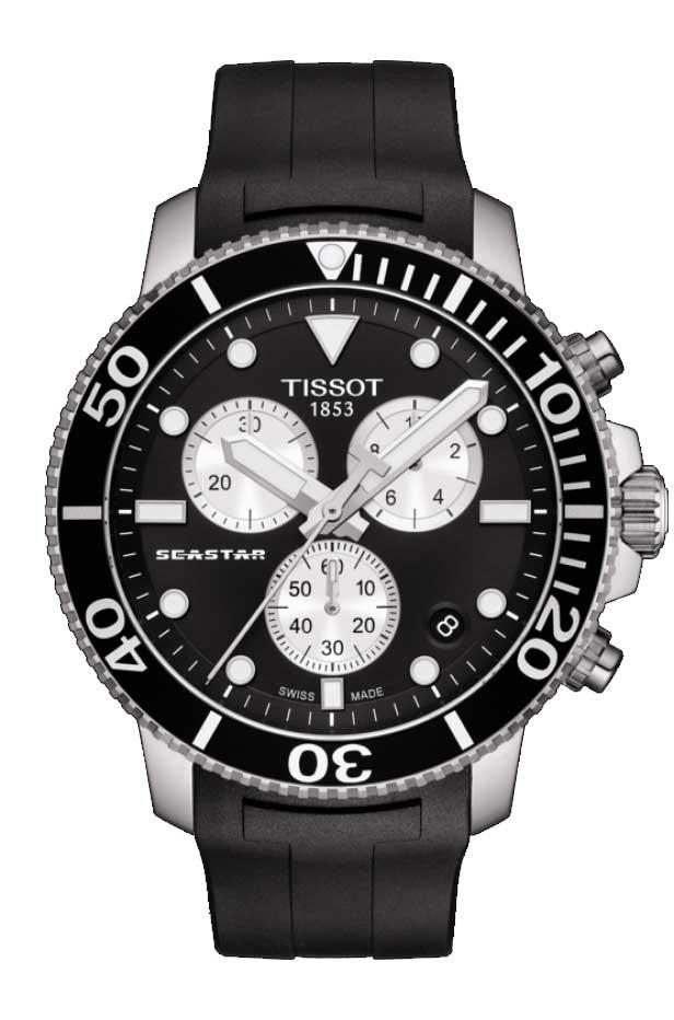 TISSOT 腕時計 ティソ メンズ シースター 1000 クロノグラフ クオーツ ブラック文字盤 ラバー T1204171705100 優美堂のティソはメーカー保証2年つきの正規代理店商品です。優美堂 分割払いできます。