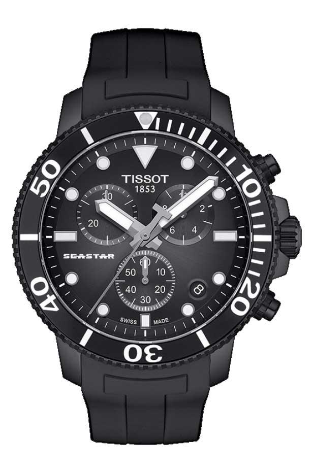 TISSOT 腕時計 ティソ メンズ シースター 1000 クロノグラフ クオーツ ブラックグラデーション文字盤 ラバー T1204173705102 優美堂のティソはメーカー保証2年つきの正規代理店商品です。優美堂 分割払いできます。